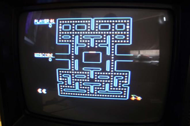 Playing Pacman on my colour television.